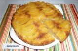 Готовое блюдо: перевернутый пирог с персиками