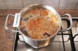 Шаг 4. Добавить в бульон с крупами нарезанные морковь и лук. Посолить и поперчит