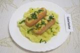 Готовое блюдо: сосиски в духовке