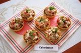 Готовое блюдо: грибной салат в тарталетках