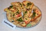 Готовое блюдо: горячие бутерброды с грибами