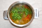 Шаг 6. Зеленый лук мелко нарезать и добавить в суп.