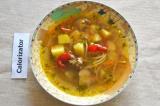 Готовое блюдо: суп с куриной печенью