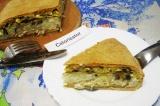 Готовое блюдо: курник с грибами и рисом
