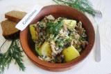 Готовое блюдо: картофель с грибами Сельский ужин