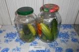 Шаг 2. В каждую банку выложить огурцы, помидоры и капусту (в любом порядке).