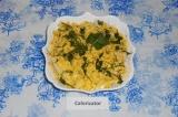 Готовое блюдо: белковый салат из курицы, кальмаров и яиц