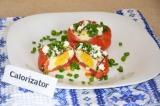 Готовое блюдо: помидоры с яйцом и брынзой в духовке