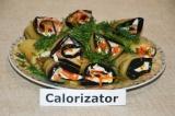 Готовое блюдо: баклажаны с корейской морковью и сулугуни