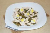 Готовое блюдо: теплый салат с куриным филе