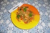 Готовое блюдо: кус-кус с грибами и овощами
