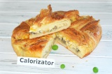 Готовое блюдо: пирог с грибами и луком