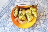 Готовое блюдо: баклажан с творогом и сыром