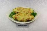 Готовое блюдо: кабачок фаршированный креветками