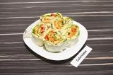 Готовое блюдо: морковь по-корейски в лаваше