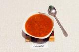 Готовое блюдо: тыквенный суп с чечевицей