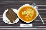 Готовое блюдо: легкий суп с кабачком и нутом